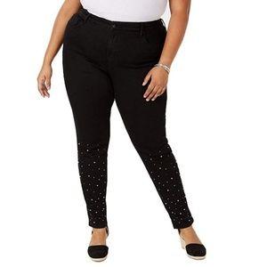 Style Co 22W Black Embellished Skinny Jeans H1-02